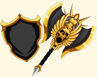 Gilded Assembly axe and shield