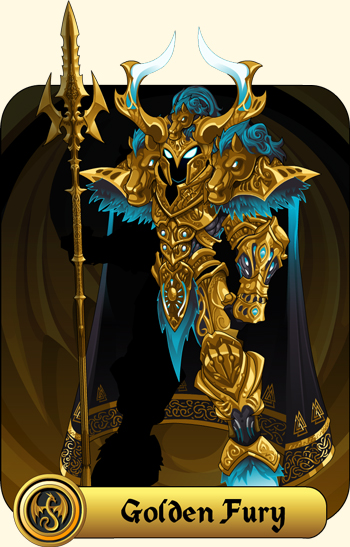 Golden Fury Armor Set exclusive for Members in online fantasy game AQW