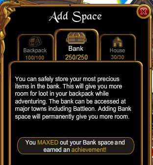 inventory and bank space