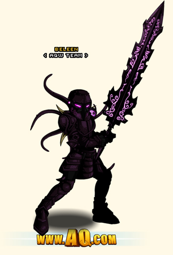 Beleen wearing Chaos Armor Set in free online game AQW