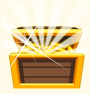 glowing treasure chest in free mmo game adventure quest worlds